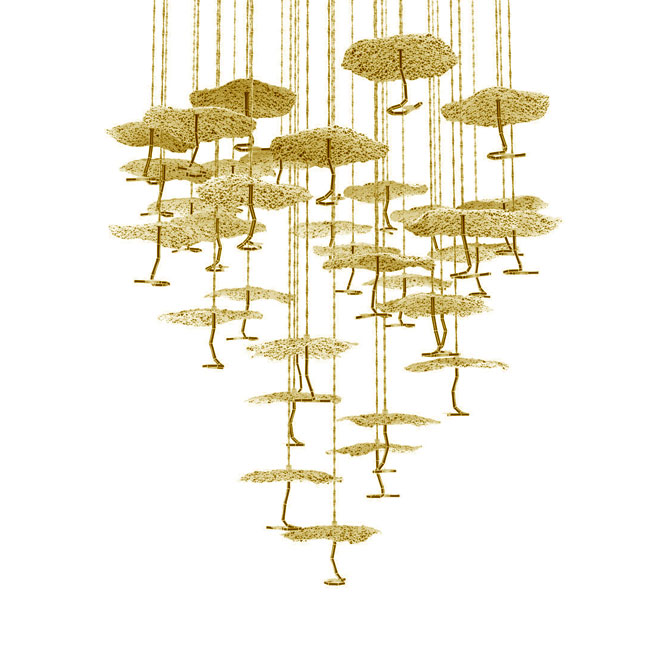 Catellani&Smith Gold Moon Chandelier Suspension LED 35W Ø 78 cm dimmable