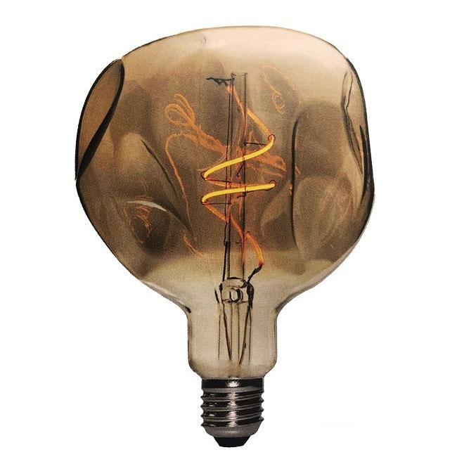 Ampoule Vintage LED Filament Curved Globo Bumped 5W E27 2000K 220/240V Ø 18 cm or  dimmable DLItalia