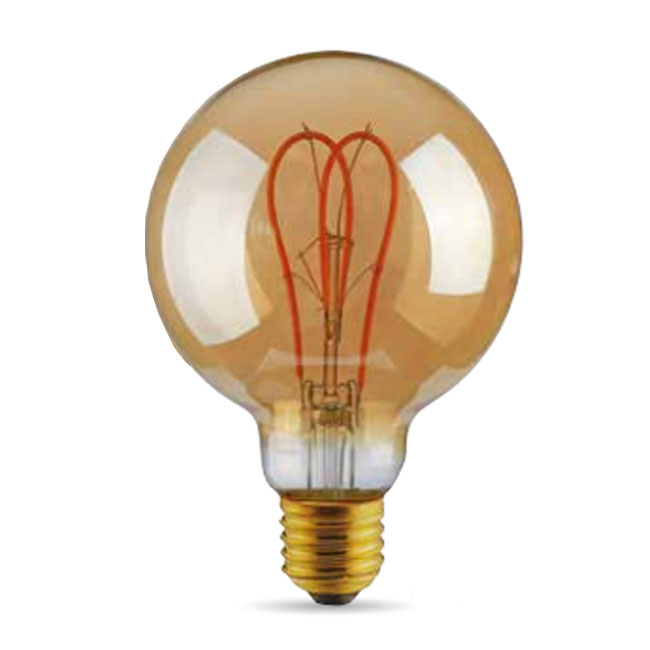 Ampoule Vintage LED Filament Curved Gold 5W E27 2000K 220/240V Ø 9.5 cm or dimmable DLItalia