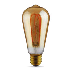 Ampoule Vintage LED Filament Curved Gold ST64 5W E27 2000K 220/240V Ø 6.4 cm or dimmable DLItalia