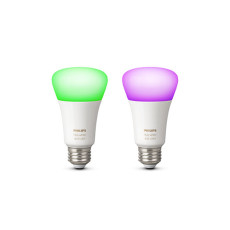 2 x Philips Hue White and Color Ambiance Ampoule LED 10W Ø 6,2 cm 4000K