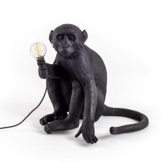 Seletti Lampe assise Monkey Lamp Black edition 1 lumière E14 H 32 cm