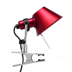 Artemide Tolomeo Micro Pinza Clamp Lamp 1 Lumiére 46W H 20 cm Halo Rouge