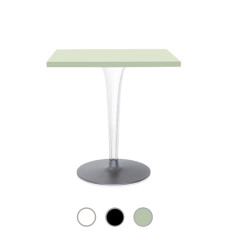 Kartell Table carrée Toptop base ronde Ø 70cm