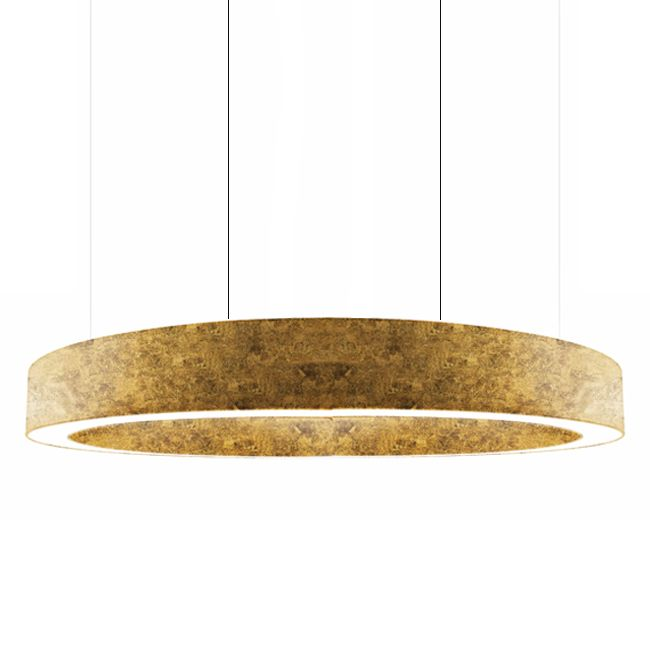 Panzeri Lampe Suspension Golden Ring LED 370W Ø 301 cm Dimmable Feuille d'Or