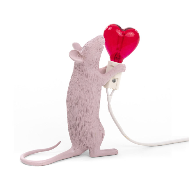 Seletti Lampe de table Mouse Lamp Love Edition LED 1W H 14,5 cm