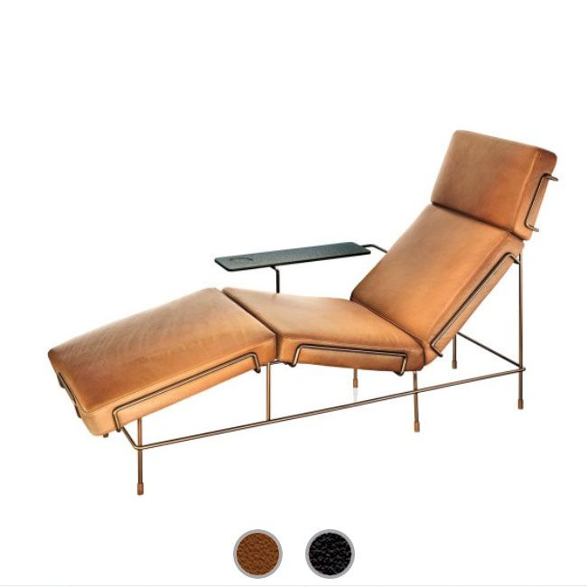 Magis Chaise Longue Traffic gainé de cuir L 155 cm