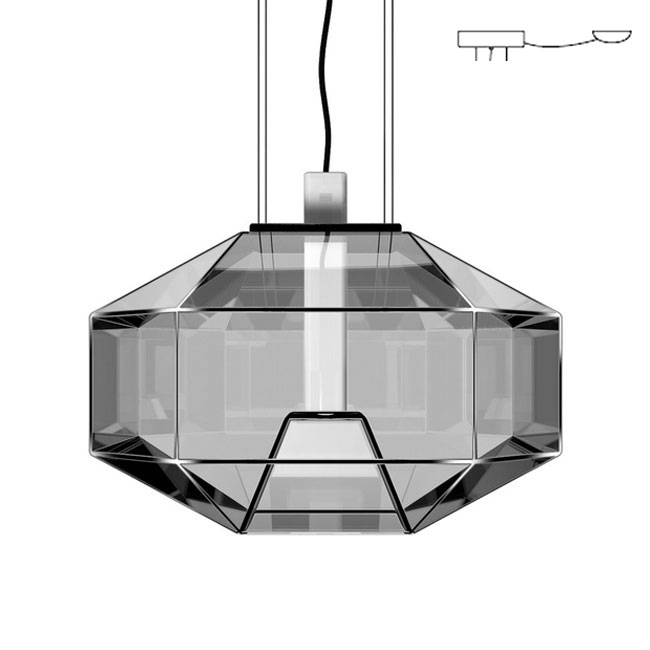 Vistosi Stone Suspension avec décentralisation L 40 cm LED 6,5W